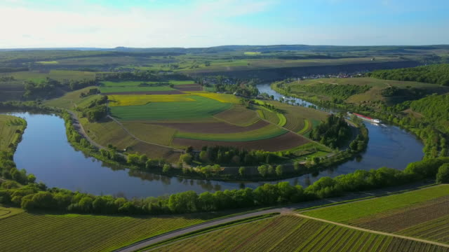 aerial view of moselle river near palzem-wehr, upper moselle valley, canton trier-saarburg, rhineland-palatinate, germany - upper palatinate stock videos & royalty-free footage