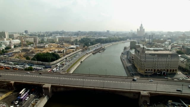 aerial view of moskva river - river moscva stock videos & royalty-free footage