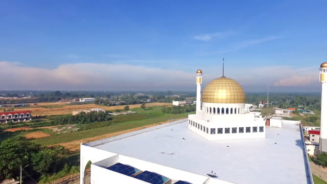 aerial view of mosque in thailand - dome stock videos & royalty-free footage