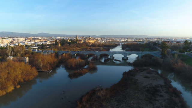 Aerial view of Mosque-Cathedral and Roman Bridge of Cordoba