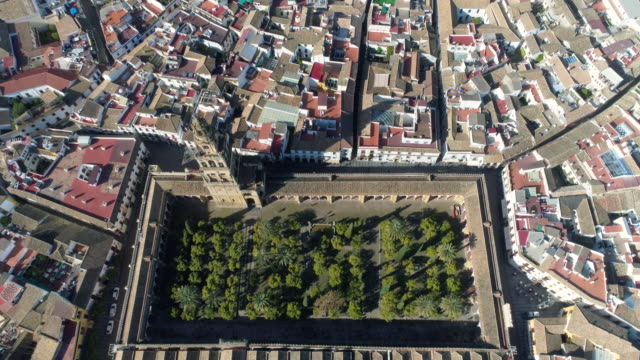 aerial view of mosque-cathedral of cordoba - cathedral stock videos & royalty-free footage