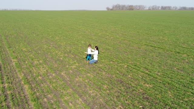 母と息子の緑のフィールドでハグの航空写真 - 人の背中点の映像素材/bロール