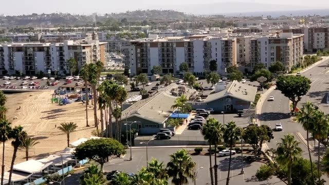 aerial view of mother's beach or marina beach in marina del rey los angeles california october 29 2019 - chennai stock videos & royalty-free footage