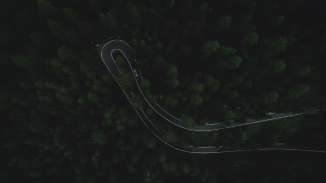 aerial view of motor home seen on mountain highway - winding road stock videos & royalty-free footage