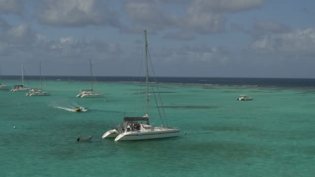 aerial view of motorboat approaching catamaran in ocean / tobago cays, st. vincent and the grenadines - 数個の物点の映像素材/bロール