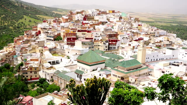 Aerial view of Moulay Idriss cityscape