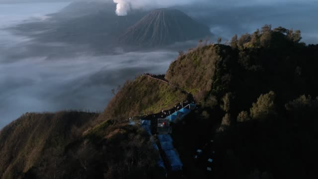 aerial view of mount bromo active volcano - 噴出点の映像素材/bロール