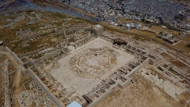 aerial view of mount gerizim archaeological site near west bank city of nablus, samaria - archaeology stock videos & royalty-free footage