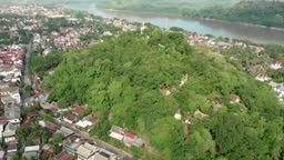 Aerial view of Mount Phousi during rainy season in Luang Prabang, Laos
