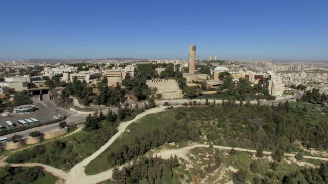 aerial view of mount scopus/ jerusalem, israel - 1948 stock-videos und b-roll-filmmaterial
