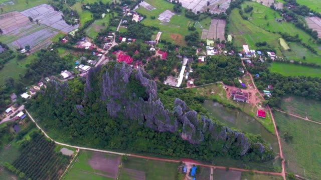 aerial view of mountain among rice paddy and country village with drone - animal antenna stock videos & royalty-free footage
