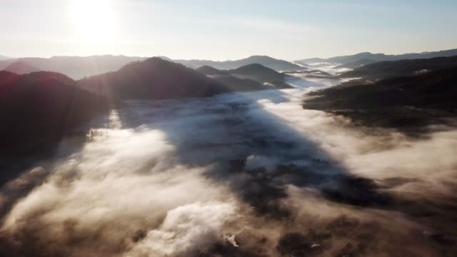 Aerial view of Mountain and mist on the forest with sunrise