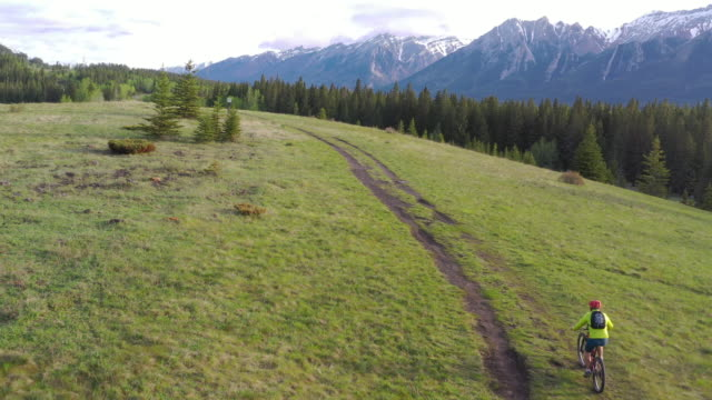 aerial view of mountain biker following meadow track - mountain bike stock videos & royalty-free footage