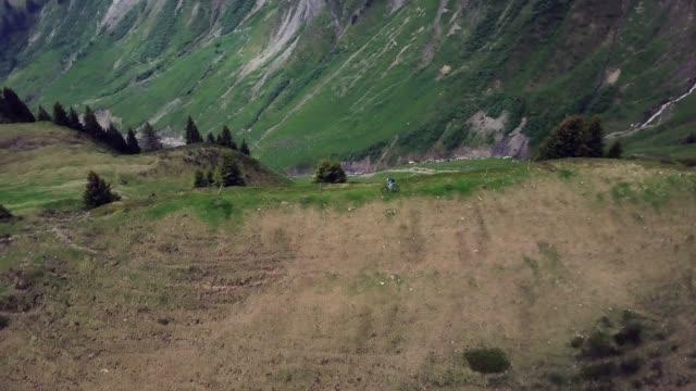 luftaufnahme der mountainbiker auf grasbewachsenen alpenkamm in alpen - mountainbike stock-videos und b-roll-filmmaterial