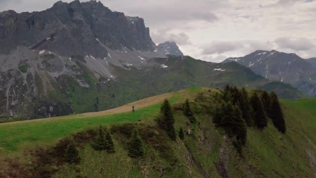 Aerial view of mountain biker on grassy alpine ridge in Alps
