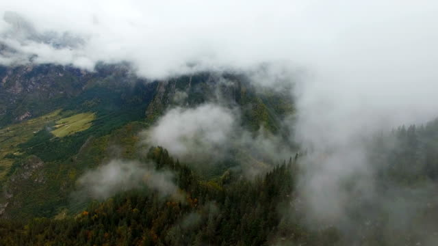 Aerial View of mountain forest with cloud in Zhagana,Gansu, Chinawith