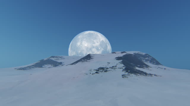 aerial view of mountain peak with moon - mountain stock videos & royalty-free footage