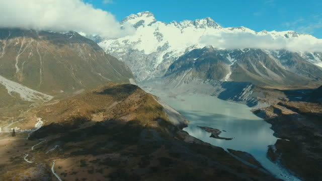 aerial view of mountain peaks in new zealand - new zealand stock videos & royalty-free footage