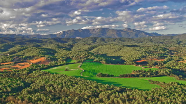 aerial view of mountain range in the pyrenees, catalonia, spain - rolling landscape stock videos & royalty-free footage