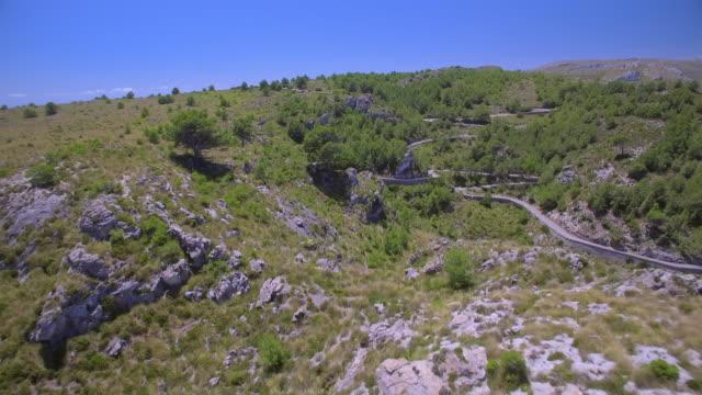 Aerial View of mountain range near by Ermita de Betlem in the mountains of Artà ( Serra Artana or Massís d'Artà ) of Balearic Islands Majorca / Spain