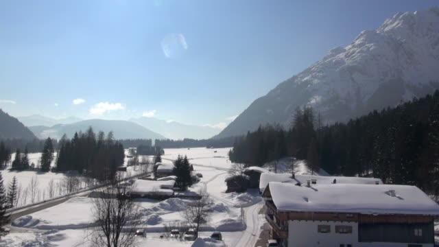 ws aerial view of mountain village in the karwendel mountains - karwendel mountains stock videos and b-roll footage