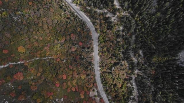 stockvideo's en b-roll-footage met luchtfoto van bergen in de herfst - boven