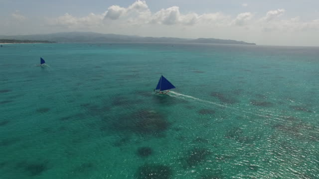 Aerial view of moving Paraw Sailboats on Boracay Island.