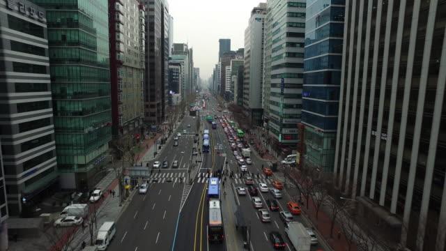 Aerial view of Moving Traffic on Gangnamdaero Street at Gangnam
