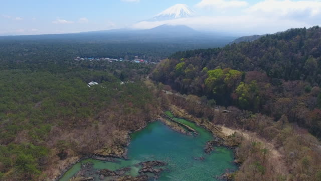 Aerial View of Mt. Fuji From Shoji Lake with Blue Sky, Fuji, Japan