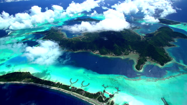 aerial view of mt otemanu bora bora island - bora bora aerial stock videos and b-roll footage