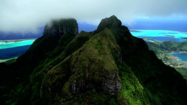 aerial view of mt otemanu bora bora island - polynesian ethnicity stock videos & royalty-free footage