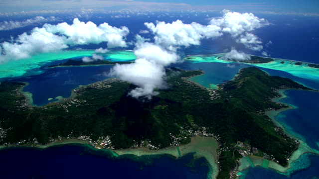 aerial view of mt otemanu bora bora - bora bora aerial stock videos and b-roll footage