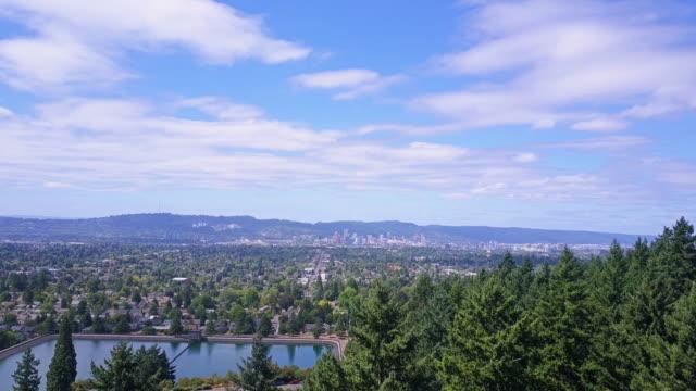 Luftaufnahme des Mount Tabor Park und Portland, Oregon