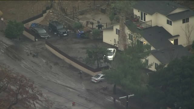 KTLA Aerial View of Mud Flows in La Tuna Canyon Road amid Tuesday's downpour