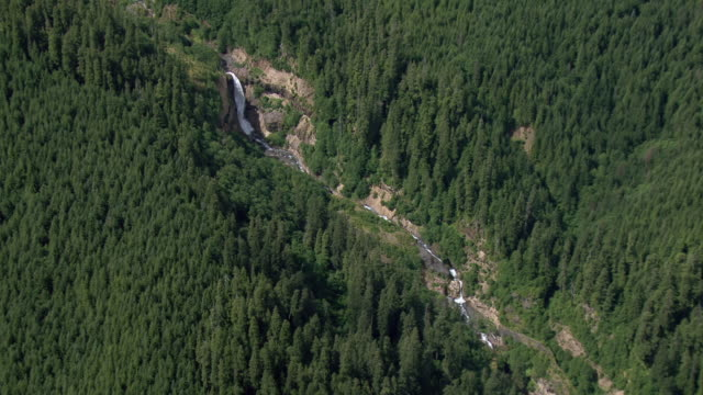 aerial view of muddy river with lava canyon falls in gifford pinchot national forest, washington. - 国有林点の映像素材/bロール