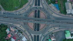 Aerial view of Multiple lane circle road traffic