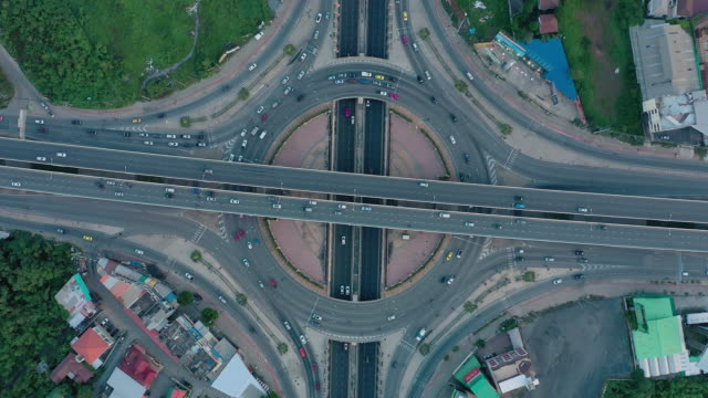 aerial view of multiple lane circle road traffic - zoom out stock videos & royalty-free footage
