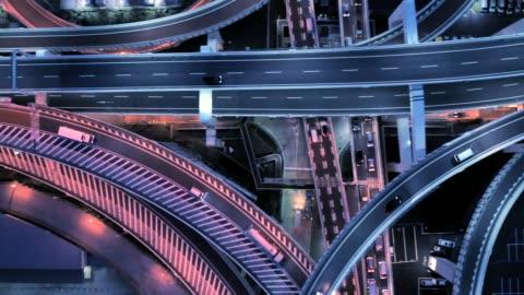 luftaufnahme von mehreren spurige autobahn nachts - live ereignis stock-videos und b-roll-filmmaterial