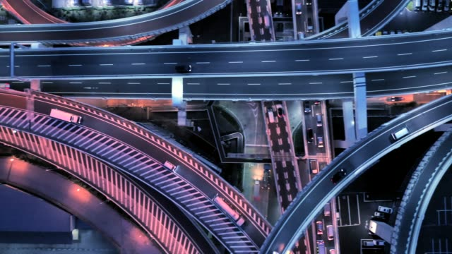 aerial view of multiple lane highway at night - cityscape stock videos & royalty-free footage