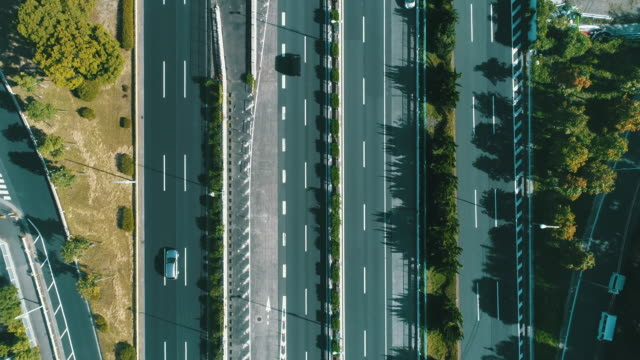 Aerial view of multiple lane highway in nature