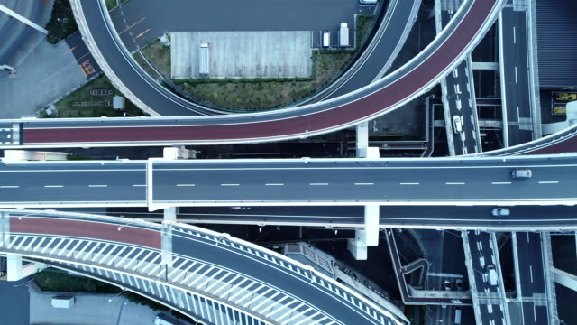 stockvideo's en b-roll-footage met aerial view of multiple lane highway - tokyo japan