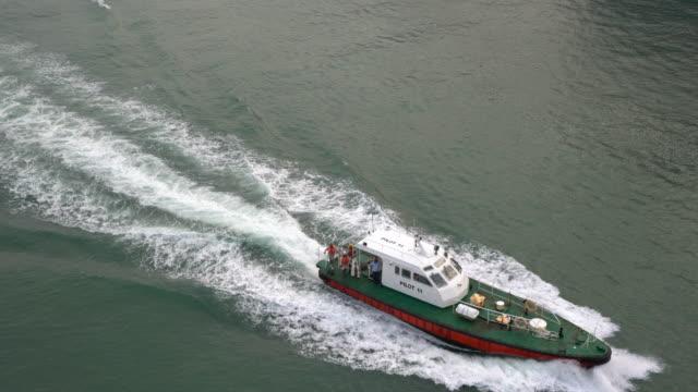 aerial view of mumbai police patrolling high seas - cruising stock videos & royalty-free footage