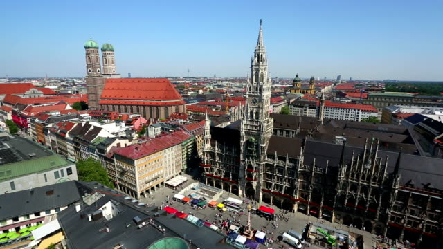 Aerial view of Munich, camera pan