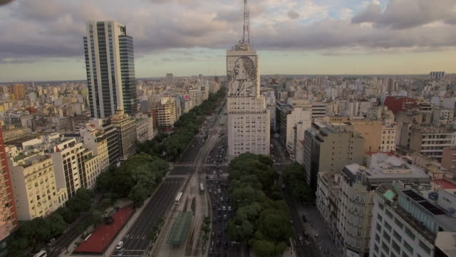 aerial view of mural of evita peron on building in buenos aires argentina - ブエノスアイレス点の映像素材/bロール