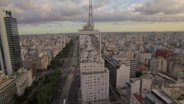 Aerial view of mural of Evita Peron on building in Buenos Aires Argentina