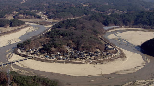 aerial view of museom folk village with naeseongcheon stream - north gyeongsang province stock videos & royalty-free footage