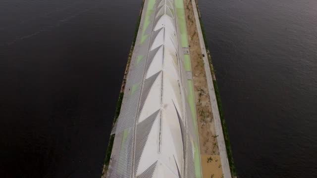 aerial view of museu do amanha rio de janeiro brazil - museum video stock e b–roll