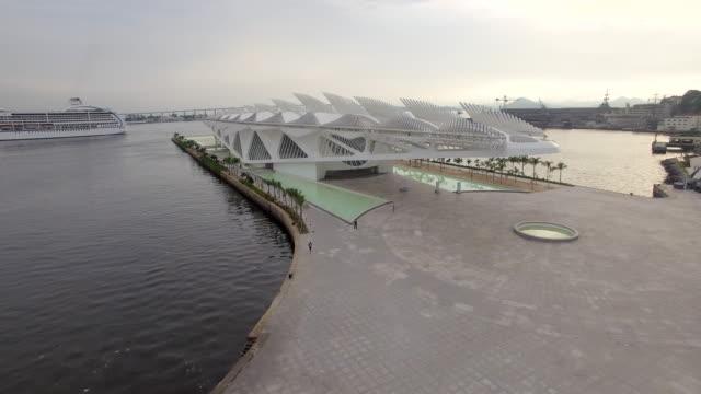 aerial view of museu do amanha rio de janeiro brazil - western script stock videos & royalty-free footage