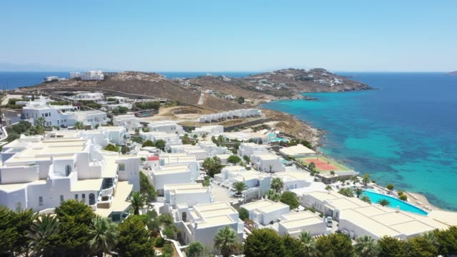 aerial view of mykonos, greece - mykonos stock videos & royalty-free footage