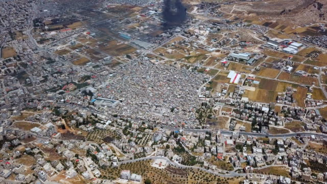 aerial view of nablus and balata refugee camp, seen from mount gerizim near west bank, samaria - west bank stock videos & royalty-free footage